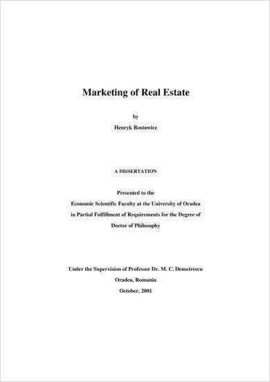 marketing of real estate for business development planning example