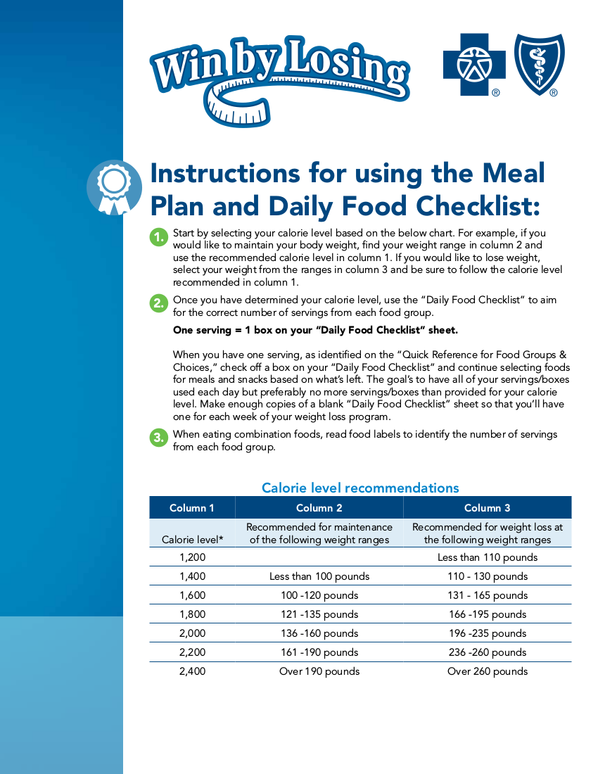 meal plan and daily food checklist