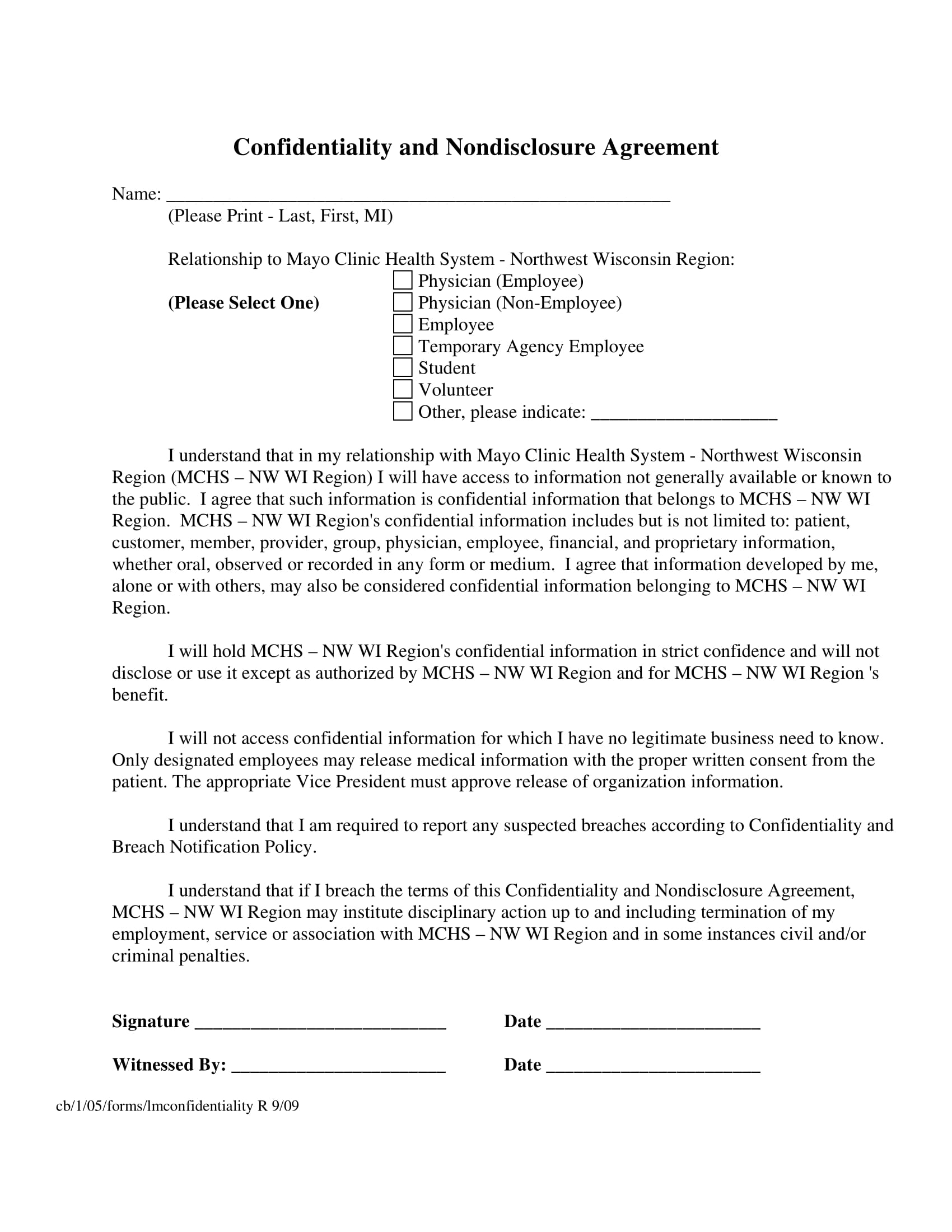 medical confidentiality and non disclosure agreement example