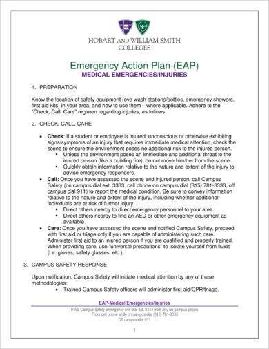 medical emergency action plan example1
