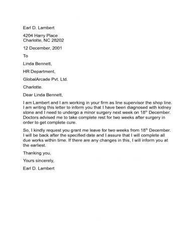 11+ Official Medical Leave Letter Examples - PDF | Examples