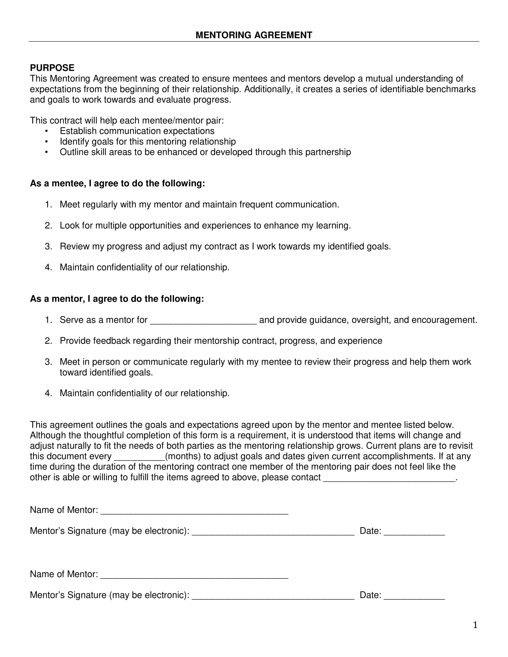 mentoring agreement and action plan example 01