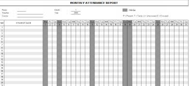 monthly attendance report example