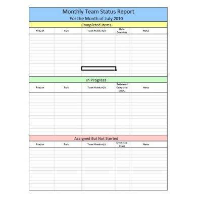 monthly team status report example1