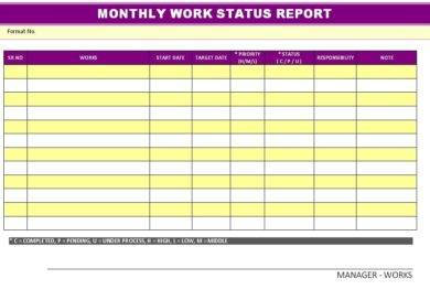 monthly work status report example1