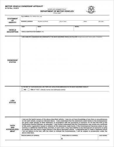 motor vehicle affidavit of ownership form example2
