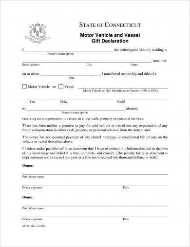 motor vehicle and vessel gift declaration