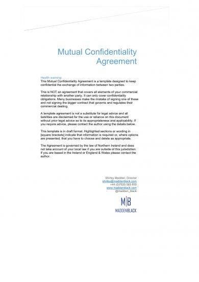 mutual confidentiality agreement template example
