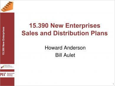 new enterprises sales and distribution action plan example