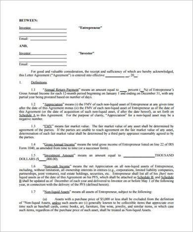 new small business investment agreement example1