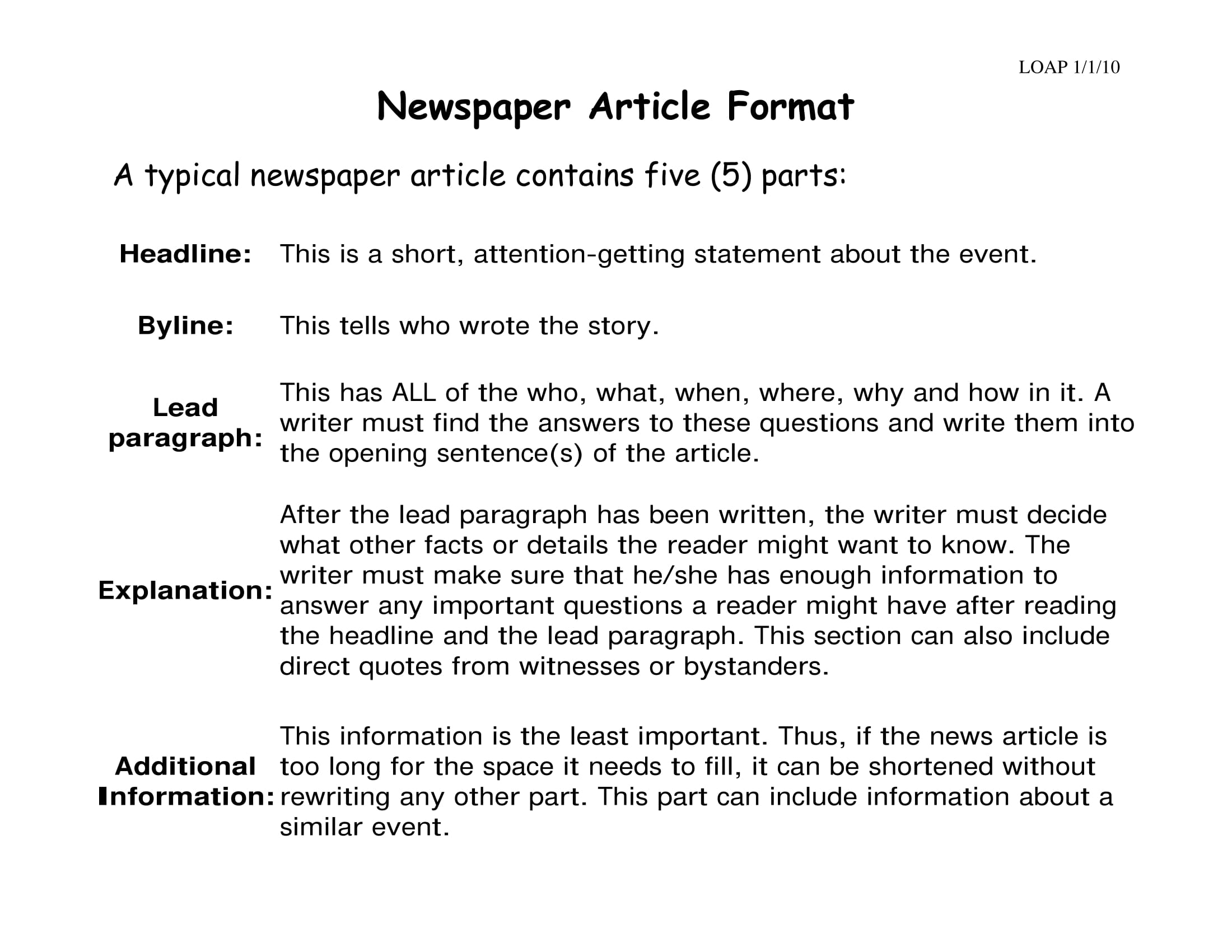 newspaper article format example