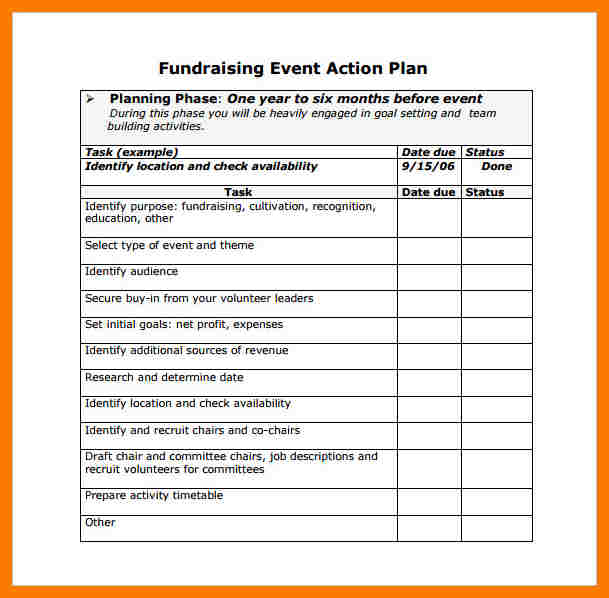 nonprofit fundraising event action plan example
