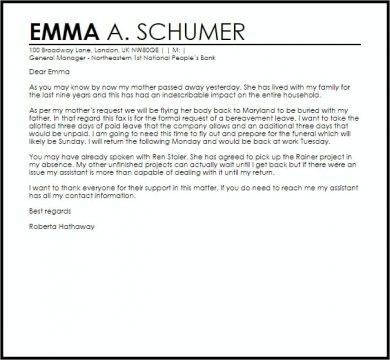 official bereavement leave letter example1