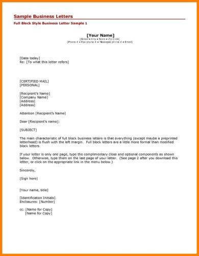 official business letter writing example