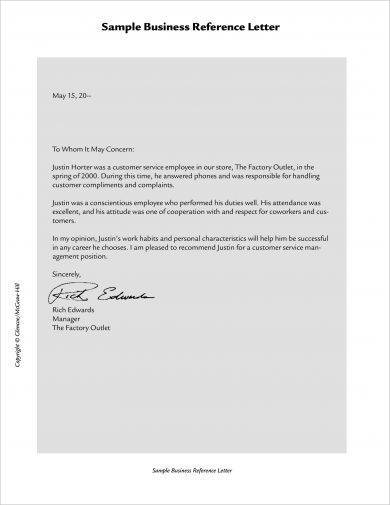 official business reference letter example