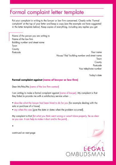 official complaint letter template example