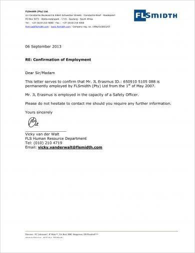 official confirmation of employment letter example