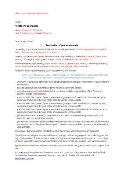 official employment termination letter template