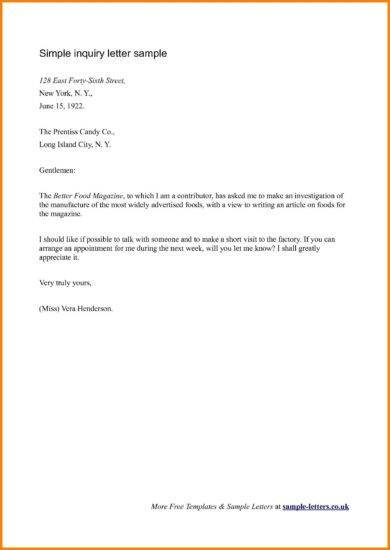 official letter writing for inquiry example1