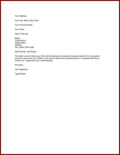 official letter writing for resignation template1