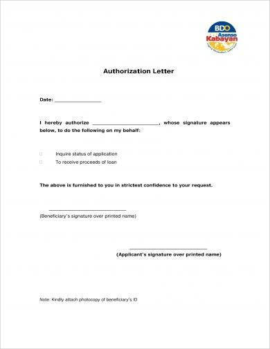 official personal loan authorization letter exampl