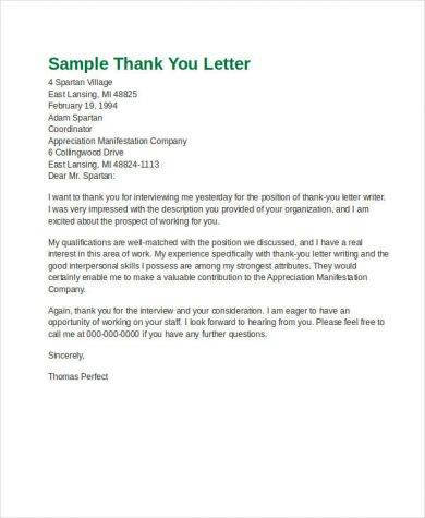 official thank you letter writing example1