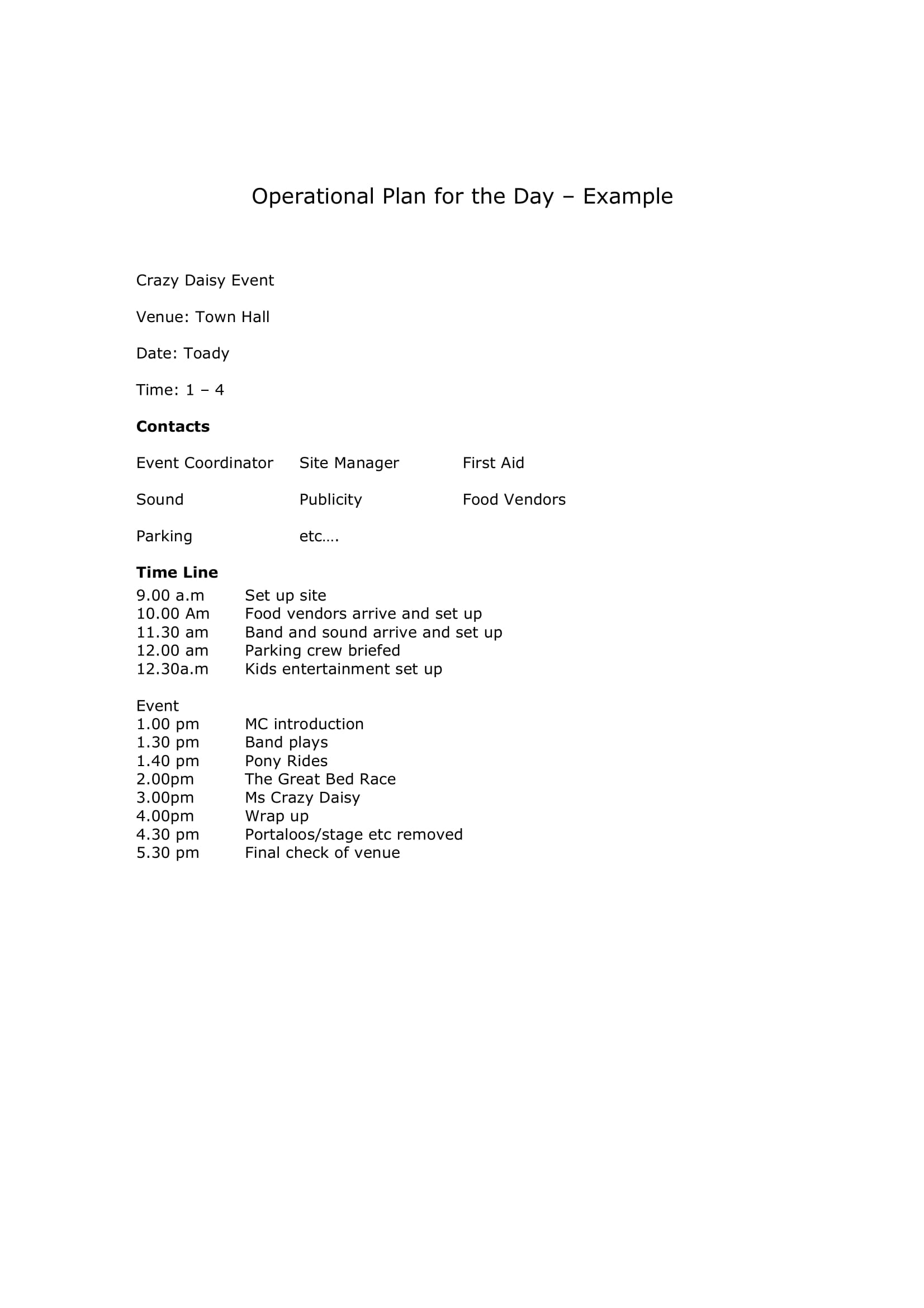 operational event plan for a day example 1
