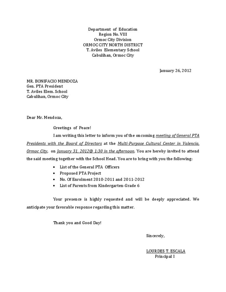 Pta Offcial Meeting Letter Example
