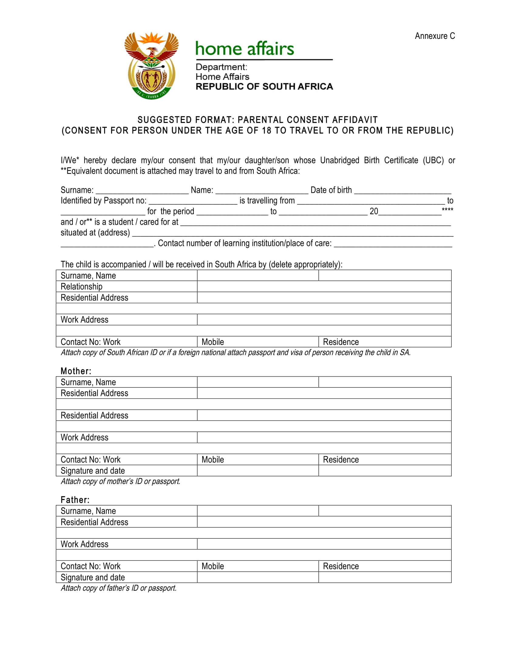 parental consent affidavit