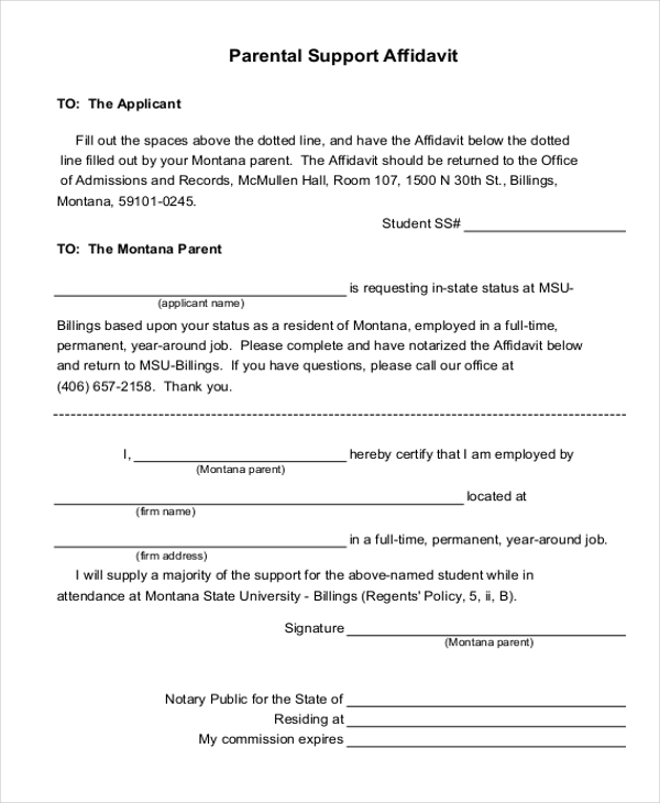 9 affidavit of support form examples pdf parental support affidavit sample thecheapjerseys Choice Image