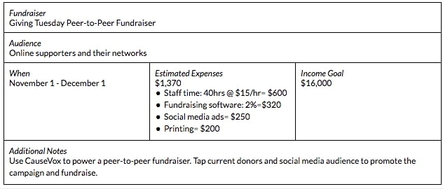 peer to peer nonprofit fundraising plan example