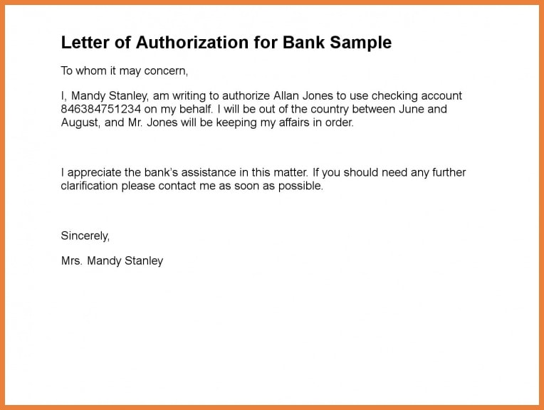 personal authorization letter for bank example