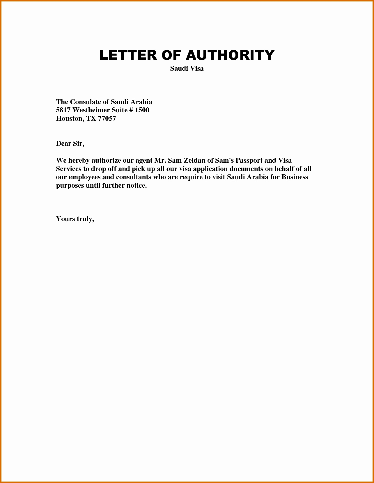 personal authorization letter for visa example