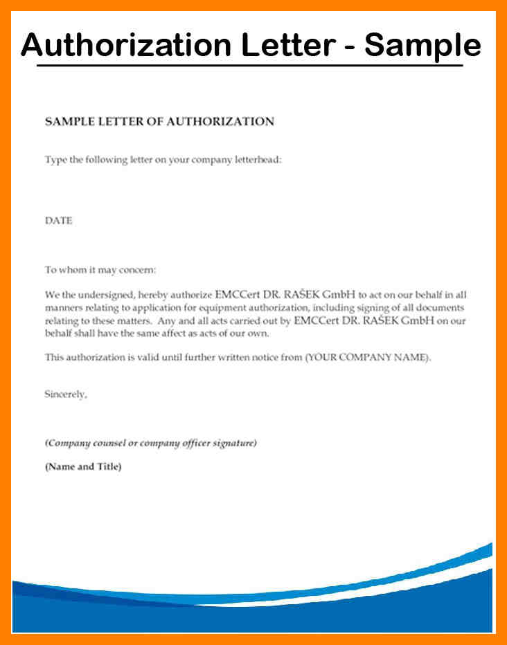 personal authorization letter to act example