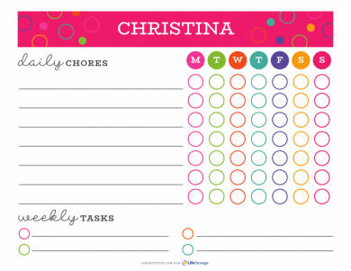 personal chore chart example