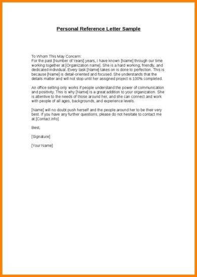sample personal letter of recommendation 16 download free