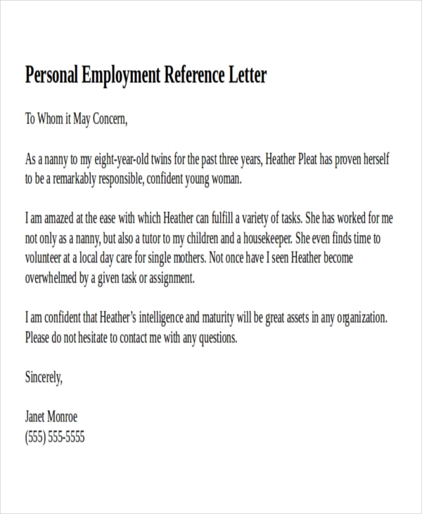 Write a letter of recommendation for residency 9 personal reference letter examples pdf personal employment reference letter example expocarfo gallery thecheapjerseys Choice Image