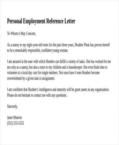 employer reference letter 9 personal reference letter examples pdf examples 21496 | Personal Employment Reference Letter Example1