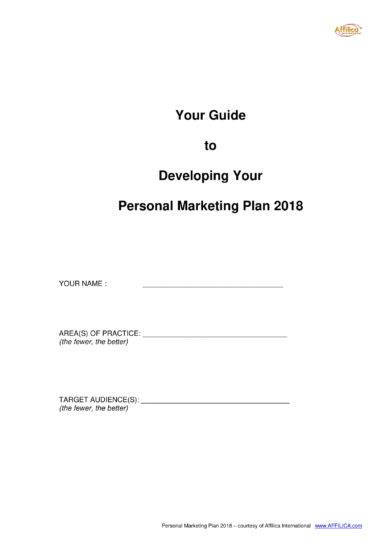personal marketing plan guidelines and example