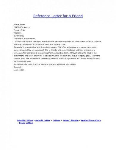 Personal Reference Letter Example from images.examples.com