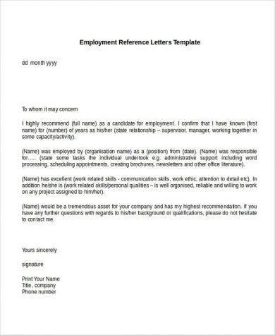 personal reference letter from an employer example