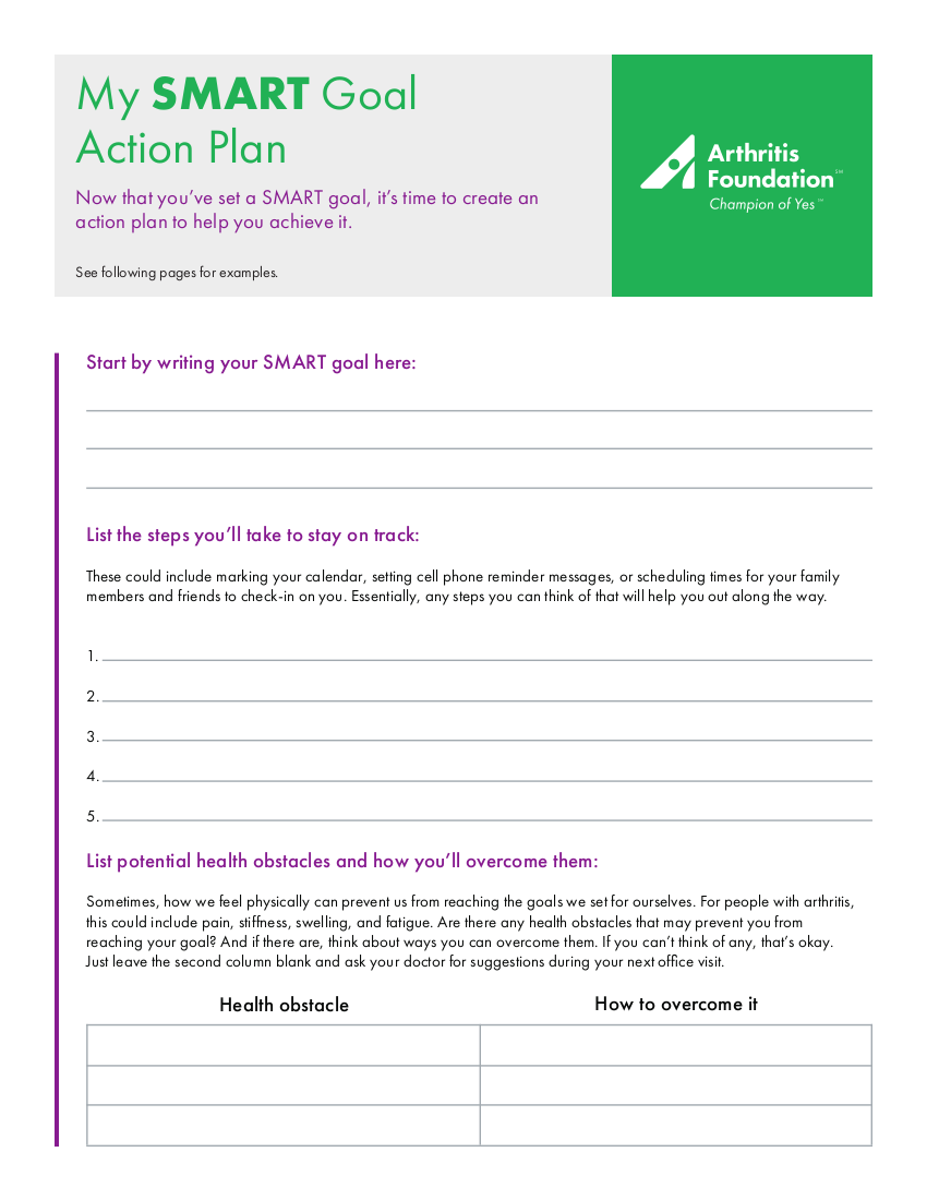 personal smart goal action plan