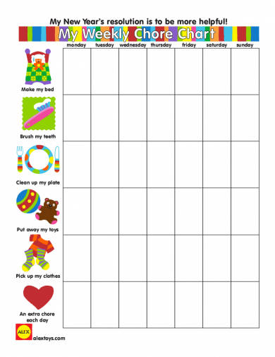 personal weekly chore chart example