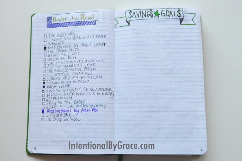 personalized journal example for savings goals