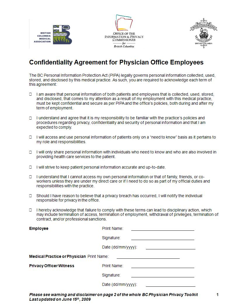 physicians office confidentiality agreement example