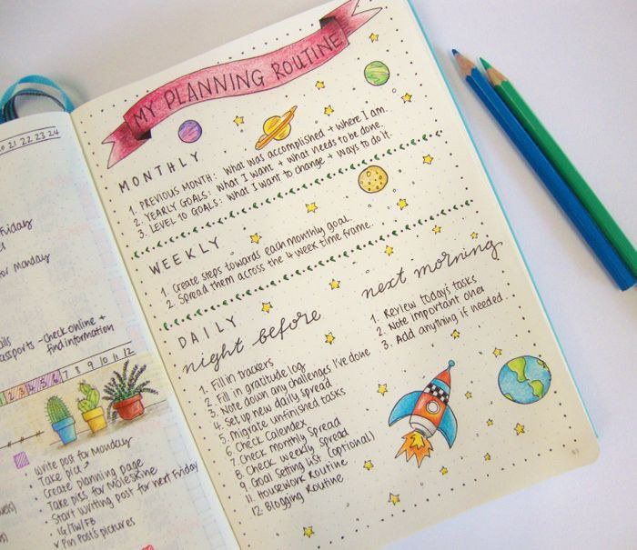 planning routine personalized journal example