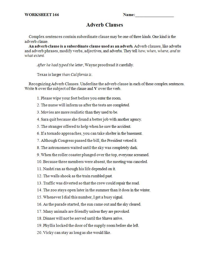 printable adverb clause worksheet example