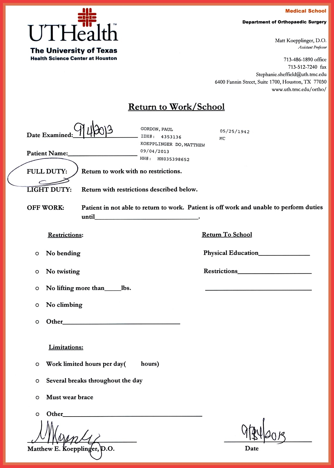 printable dental note for school example