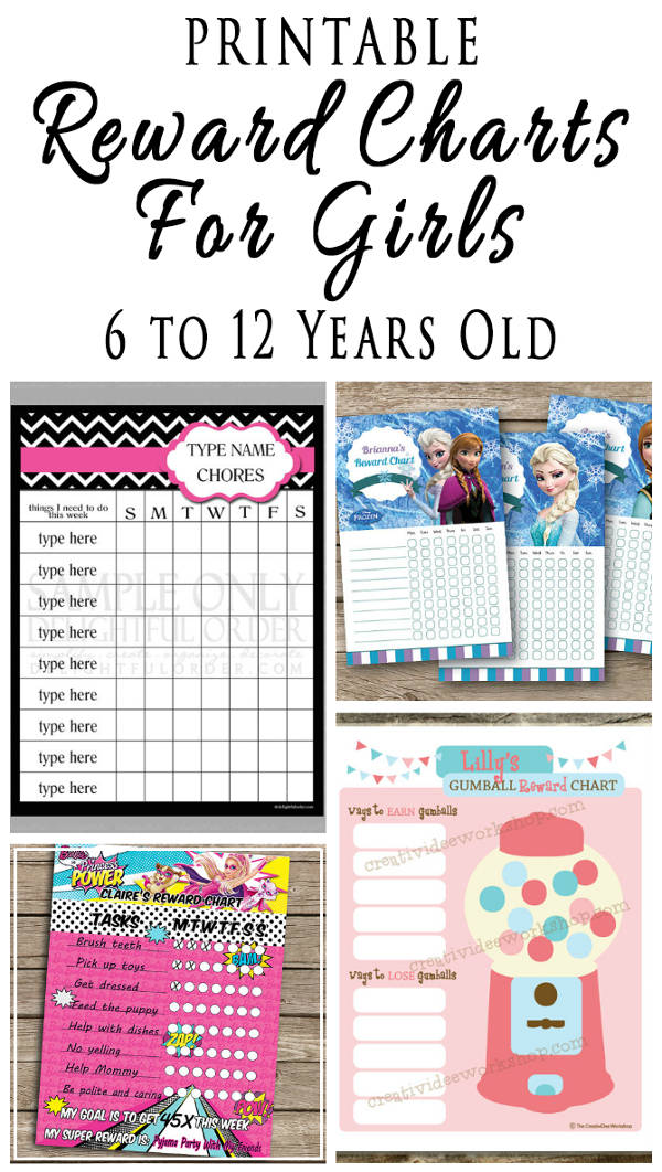 printable reward charts for girls