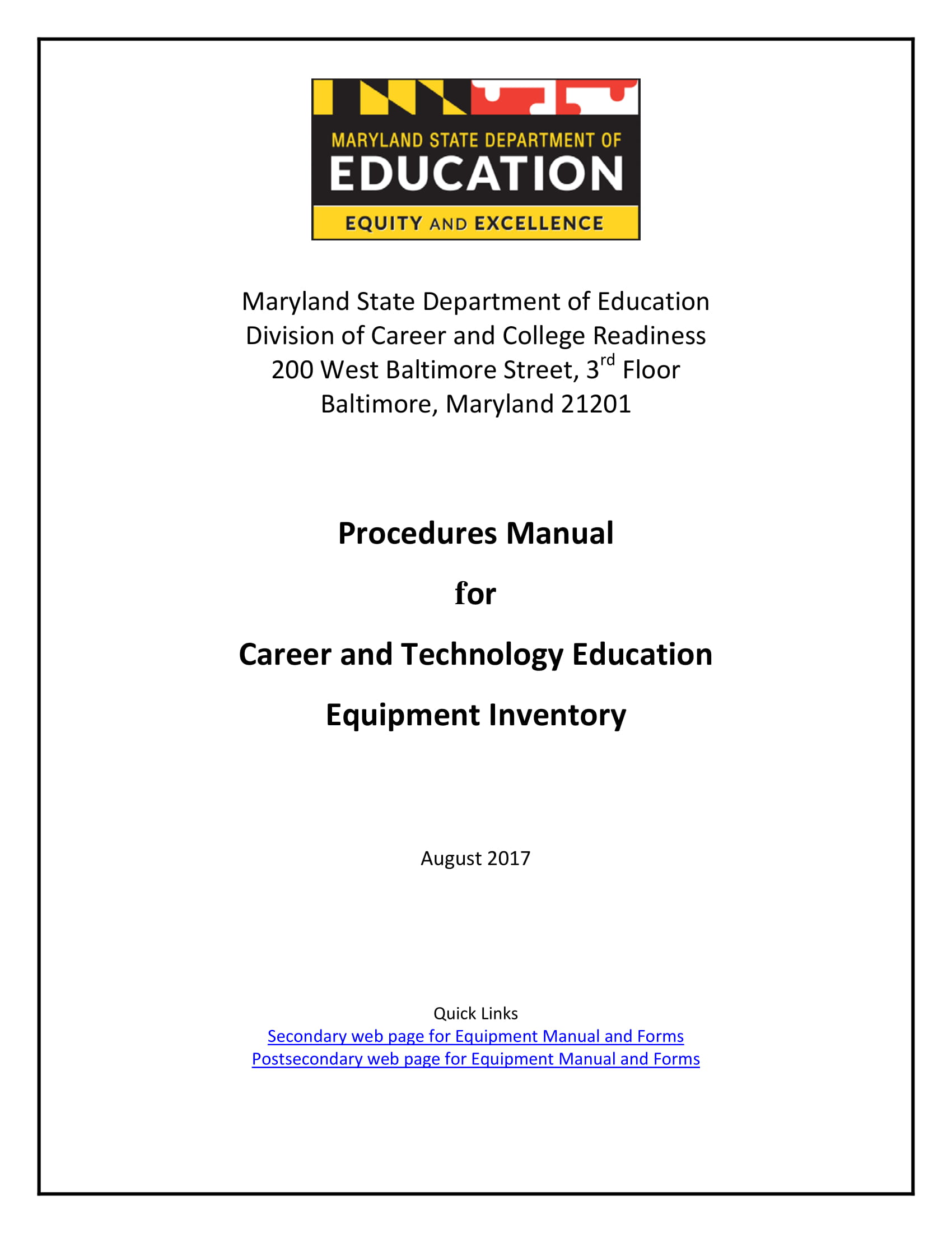 procedures manual for career and technology education equipment inventory example 11